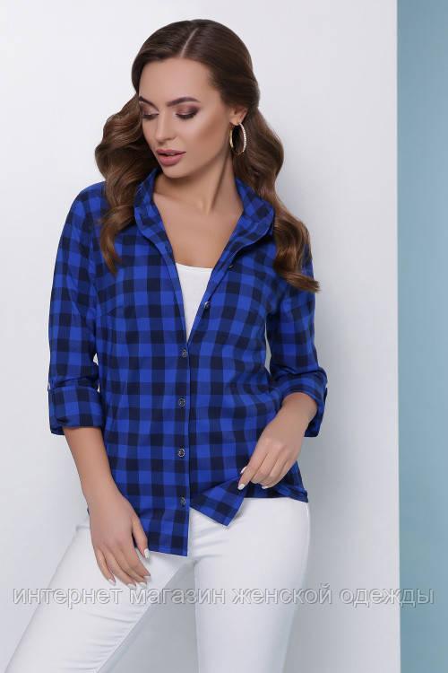 Женская хлопковая рубашка на пуговицах в модную клетку синяя