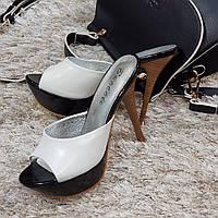 Сабо женские Brocoli белые натуральная кожа на каблуке