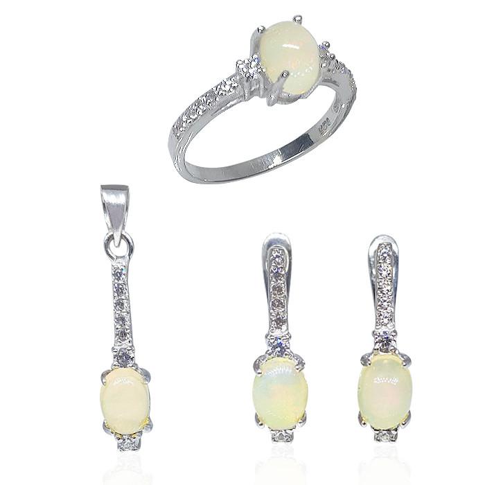 Комплект кольцо, серьги, кулон серебряные с опалами 017
