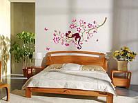 Виниловая наклейка на стену обезьяна бабочки