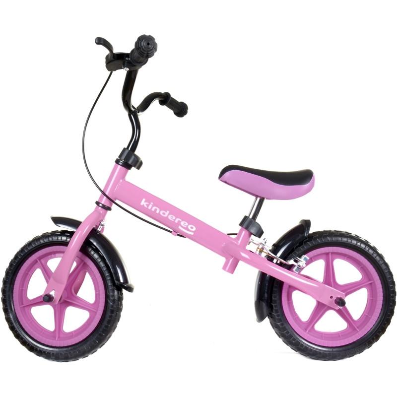 Беговел Kindereo с тормозом колеса 12 пена розовый
