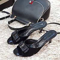Сабо женские Brocoli черные натуральная кожа без каблука