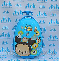 Чемоданы овальные дорожные детские ручная кладь люкс Josepf Ottenn Миккии Маус голубой16-JDX-35