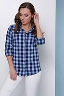 Женская хлопковая рубашка на пуговицах в модную стильную клетку