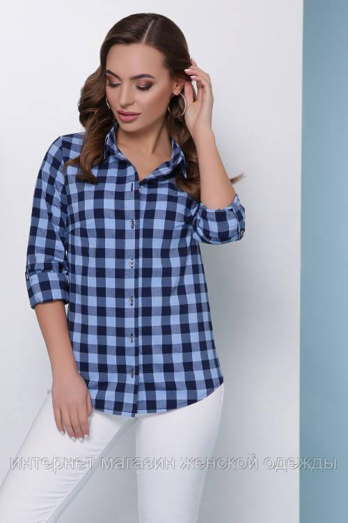 879a33bcb Женская хлопковая рубашка на пуговицах в модную стильную клетку , цена 450  грн., купить в Киеве — Prom.ua (ID#942766032)