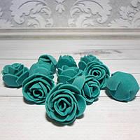Роза из латекса,  2,5-3 см, цвет морская волна