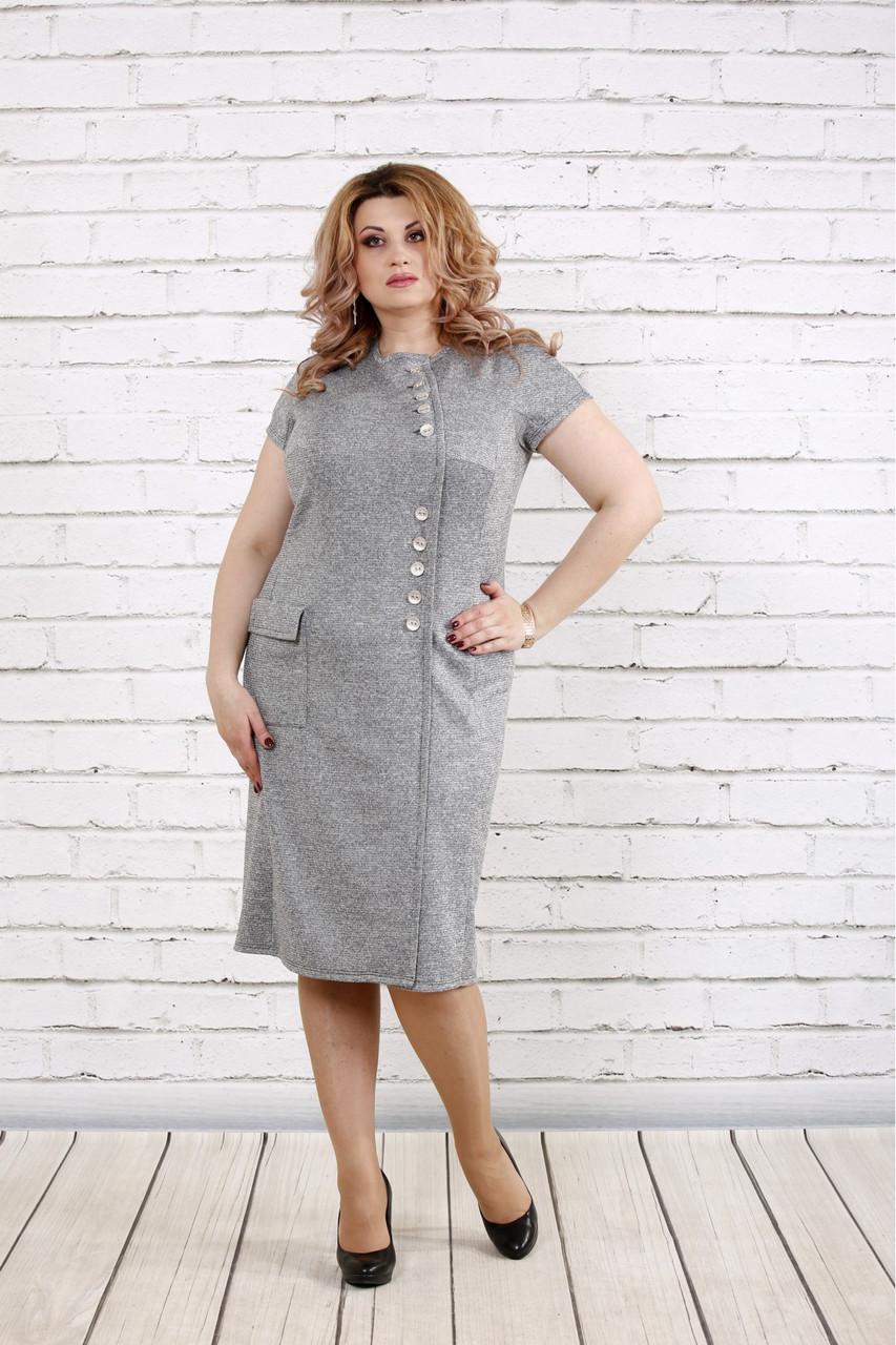 Сіра сукня з люрексом великий розмір   0781-1