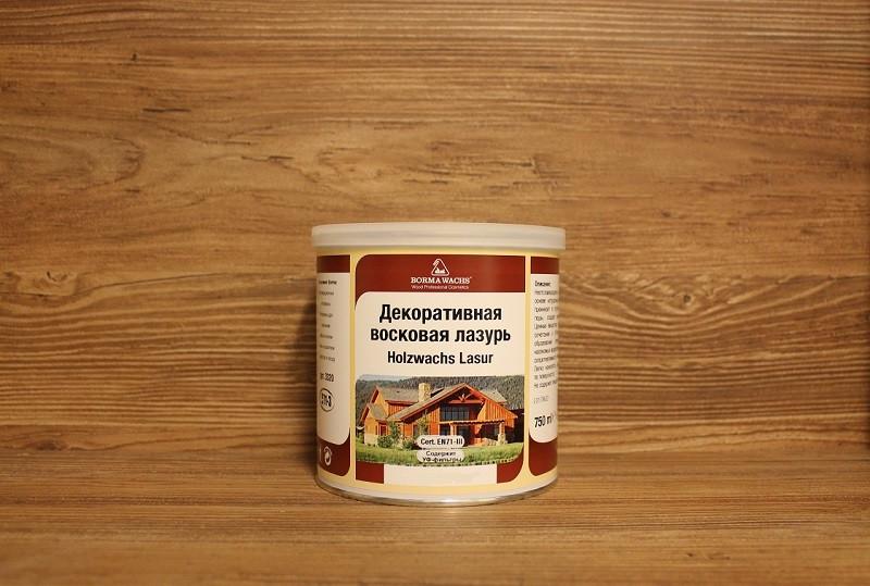 Масляная морилка с воском, Holzwachs Lasur, Borma Wachs, Interiors Line, зеленая сосна (136), 750 мл.