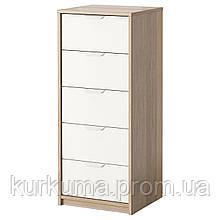 IKEA ASKVOLL Комод с 5 ящиками, белый окрашенный дуб, белый  (503.911.43)