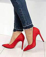 Стильные женские туфли красные на шпильке