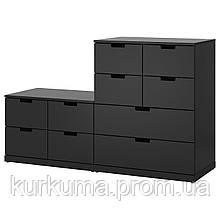 IKEA NORDLI Комод с 10 ящиками, антрацит  (792.480.41)