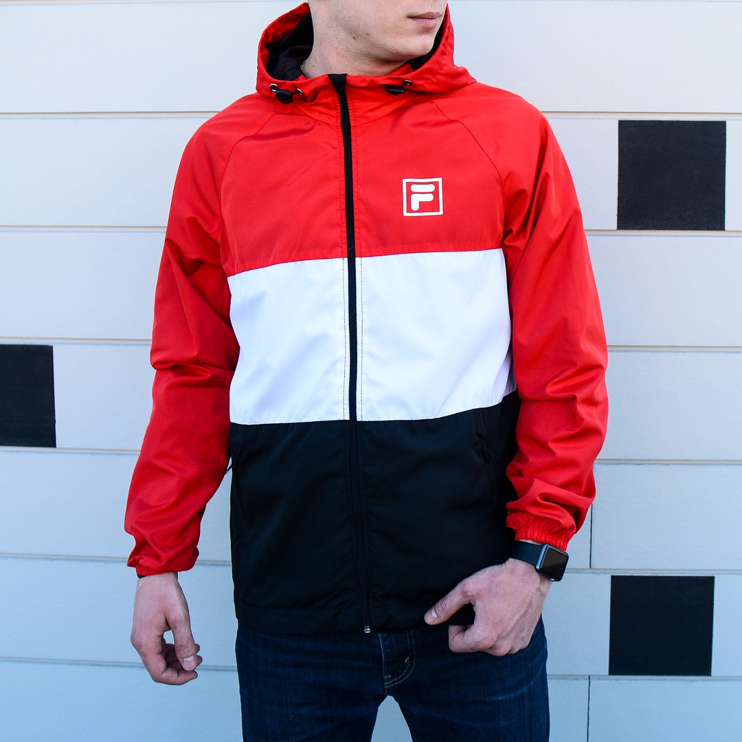 Мужская весенняя куртка Fila (Red/White/Dark), яркая мужская куртка Фила, мужская ветровка Фила