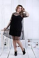 Черное платье с сеткой в точку | 0810-2 большой размер