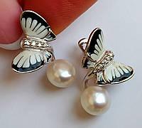 Серебряные серьги Бабочки с японским жемчугом 8мм и ювелирной эмалью