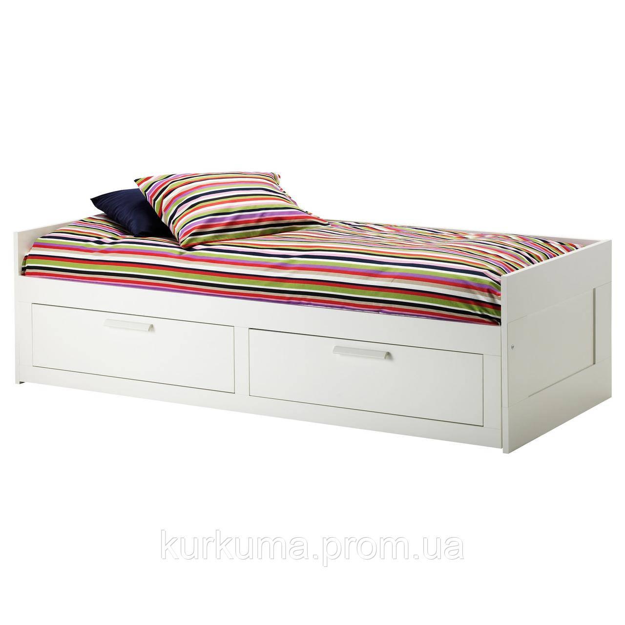 IKEA BRIMNES Раскладная кровать с 2 ящиками и 2 матрасами, белый, Малфорс средней жесткости  (191.299.32)