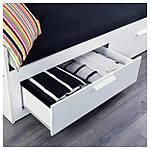 IKEA BRIMNES Раскладная кровать с 2 ящиками и 2 матрасами, белый, Малфорс средней жесткости  (191.299.32), фото 4