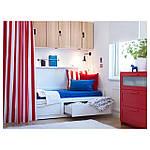 IKEA BRIMNES Раскладная кровать с 2 ящиками и 2 матрасами, белый, Малфорс средней жесткости  (191.299.32), фото 5