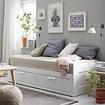IKEA BRIMNES Раскладная кровать с 2 ящиками и 2 матрасами, белый, Малфорс средней жесткости  (191.299.32), фото 8