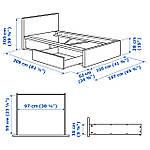 IKEA MALM Кровать высокая с 2 ящиками для хранения, белый стаинедед дубовый шпон, (591.323.10), фото 7