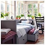 IKEA HEMNES Раскладная кровать с 3 ящиками и 2 матрасами, серый, Хусвика жесткий  (592.116.18), фото 8