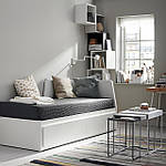 IKEA FLEKKE Раскладная кровать с 2 ящиками и 2 матрасами, белый, Малфорс жесткий диск  (091.298.76), фото 2