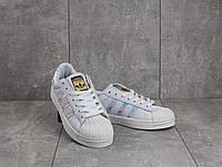 Кроссовки B 529 -1 (Adidas Superstar) (весна/осень, женские, искусственная кожа, белый)