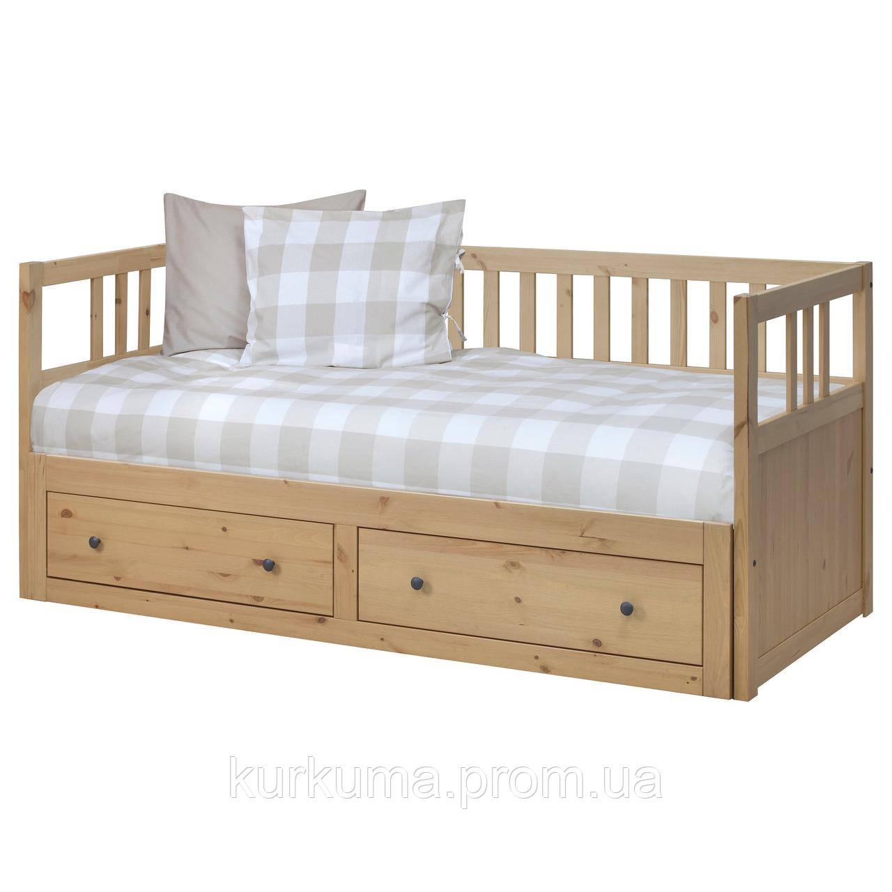 IKEA HEMNES Раскладная кровать с 2 ящиками и 2 матрасами, светло-коричневый, Малфорс  (391.834.71)