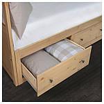 IKEA HEMNES Раскладная кровать с 2 ящиками и 2 матрасами, светло-коричневый, Малфорс  (391.834.71), фото 3