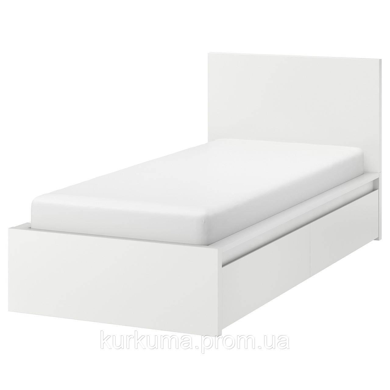 IKEA MALM Кровать высокая с 2 ящиками для хранения, белый, Лонсет  (890.327.38)