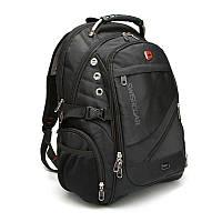 Швейцарский мужской рюкзак SwissGear 8810 c Usb и выходом Aux + дождевик Чёрный