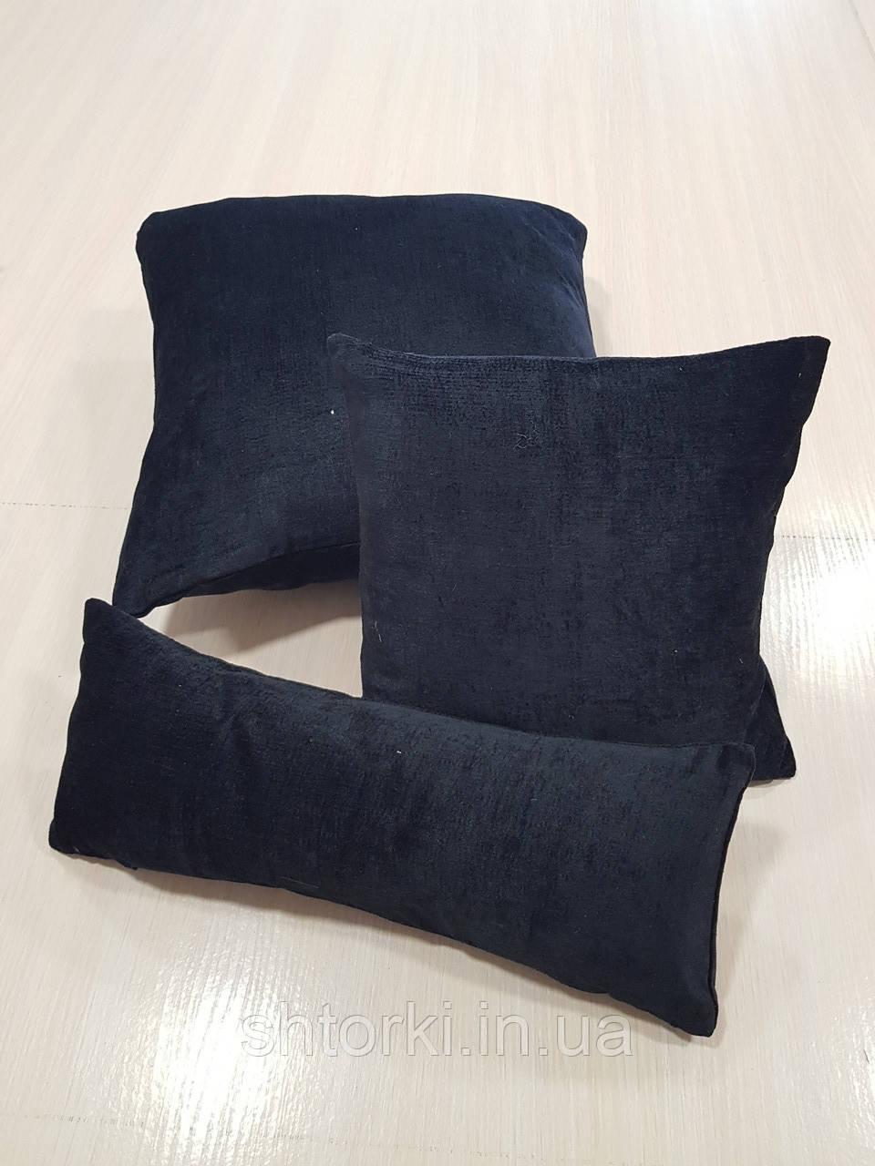 Комплект подушек   Плюш черные, 3шт