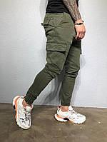 Мужские коттоновые штаны карго хаки #5066-3353