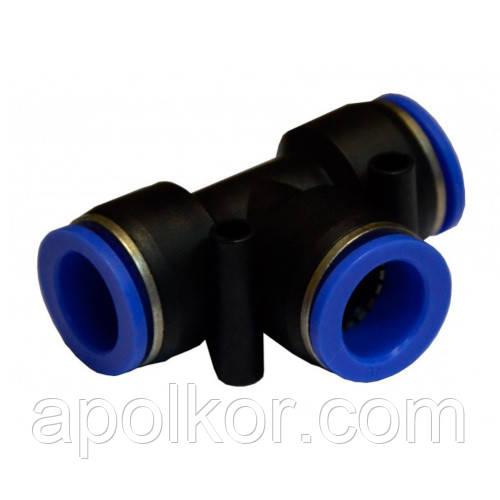 Соединение цанговое для полиуретановых шлангов PU/PR (Т-обр., шланг)  6*6*8мм AIRKRAFT SPE06-08