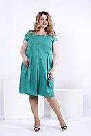 Свободное платье травяного цвета большой размер | 0830-3