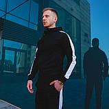 Мужской черный спортивный костюм с лампасами, черный костюм с белыми лампасами, фото 2