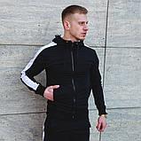 Мужской черный спортивный костюм с лампасами, черный костюм с белыми лампасами, фото 4