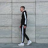 Мужской черный спортивный костюм с лампасами, черный костюм с белыми лампасами, фото 5