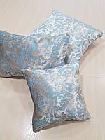 Комплект подушек   Серебро с бирюзой, 3шт, фото 1