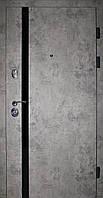 Двери входные REDFORT. Лофт Базальт + черный вертикальный молдинг квартира, фото 1
