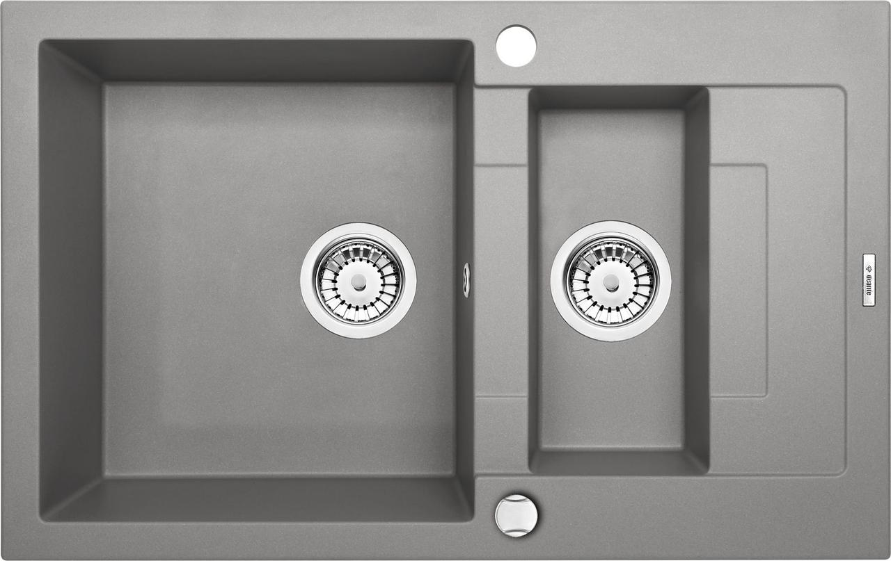 Двойная мойка Deante Rapido ZQK S513 серый металлик 78*49