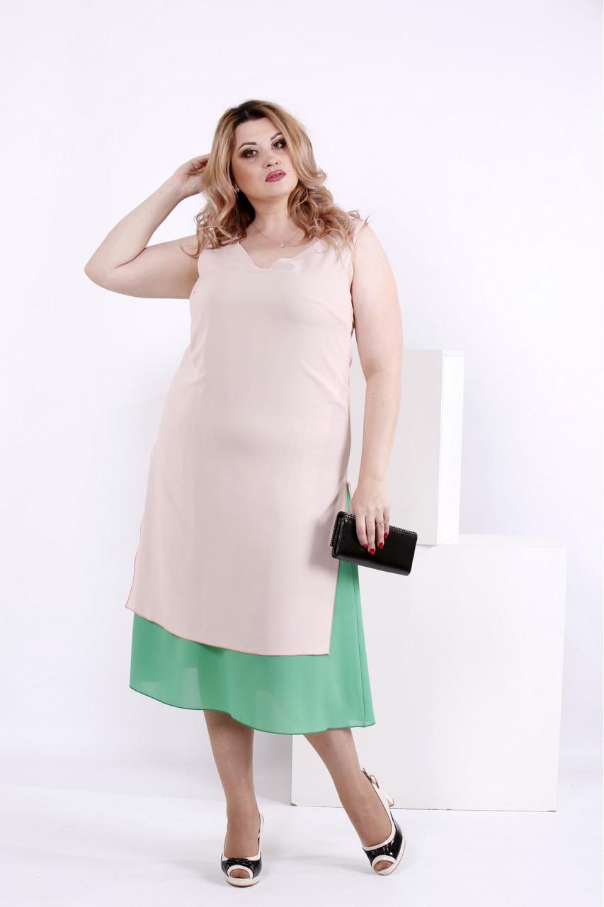 Літній рожево-зелена сукня великий розмір | 0837-2