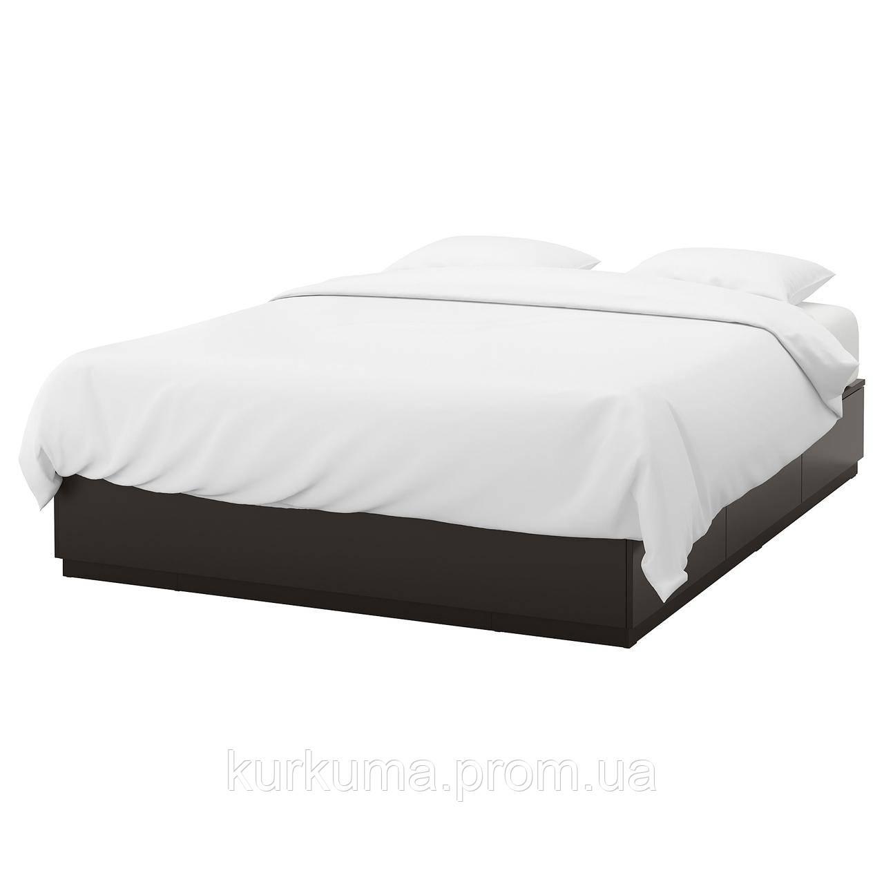 IKEA NORDLI Кровать с ящиками, антрацит  (903.727.79)