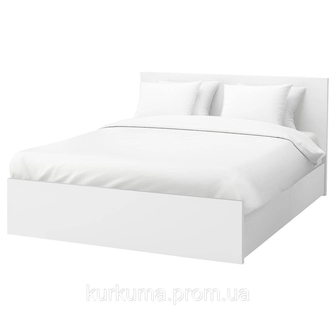 IKEA MALM Кровать высокая, 2 ящика, белый, Лонсет  (491.760.74)