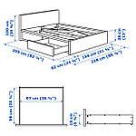 IKEA MALM Кровать высокая, 2 ящика, белый, Лонсет  (491.760.74), фото 8