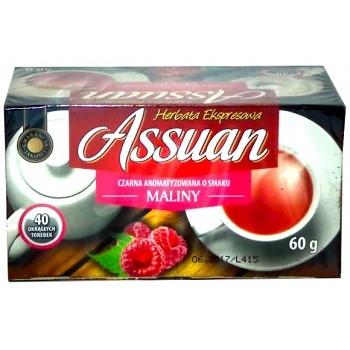 Чай черный Assuan Maliny cо вкусом малины Польша (40 пакетиков)