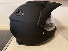 Черный матовый эндуро мото шлем с визором и с дополнительными солнцезащитными очками, фото 3