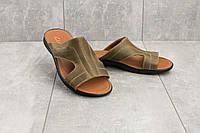 Шлепанцы Yuves (Clarks) Z5 (лето, мужские, натуральная кожа, оливковый)