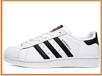 Мужские кроссовки Adidas Superstar White Black Gold (адидас суперстар, белые / черные)