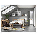 IKEA MALM Кровать высокая, 2 ящика, белый стаинедед дубовый шпон, (391.766.11), фото 3