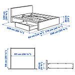 IKEA MALM Кровать высокая, 2 ящика, белый стаинедед дубовый шпон, (291.766.02), фото 9